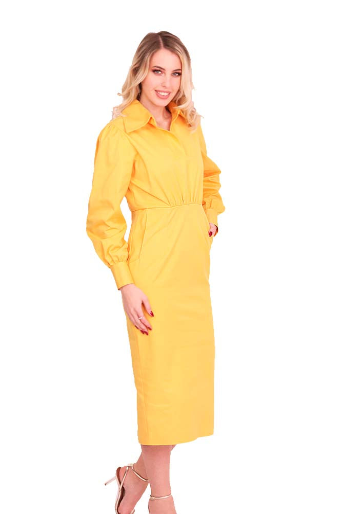 Cocktail long dress cotton yellow