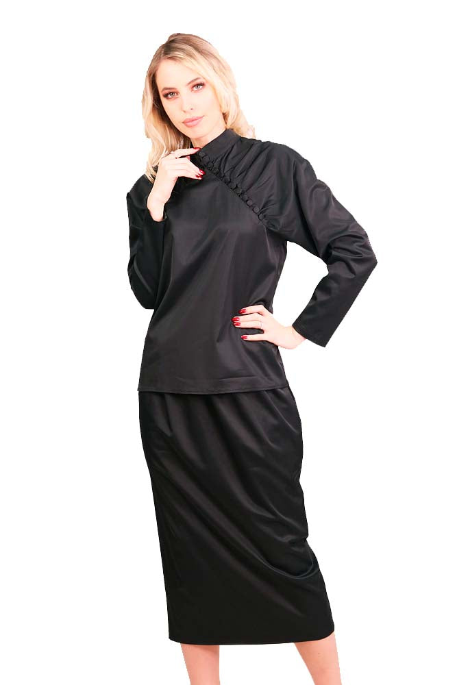 Cocktail long skirt cotton black