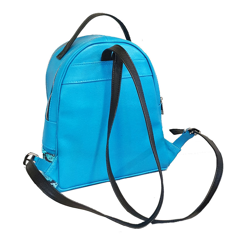 Women's genuine leather backpack in turquoise colour