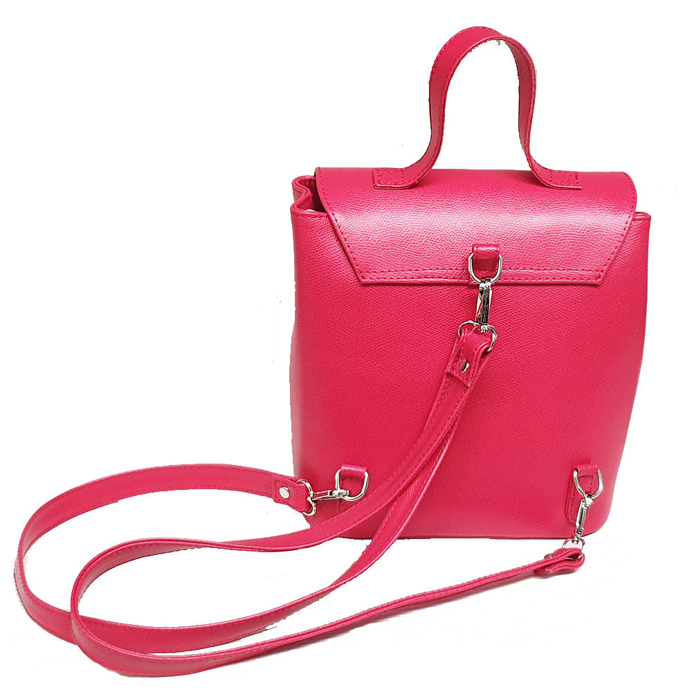 Women's genuine leather backpack pink colour