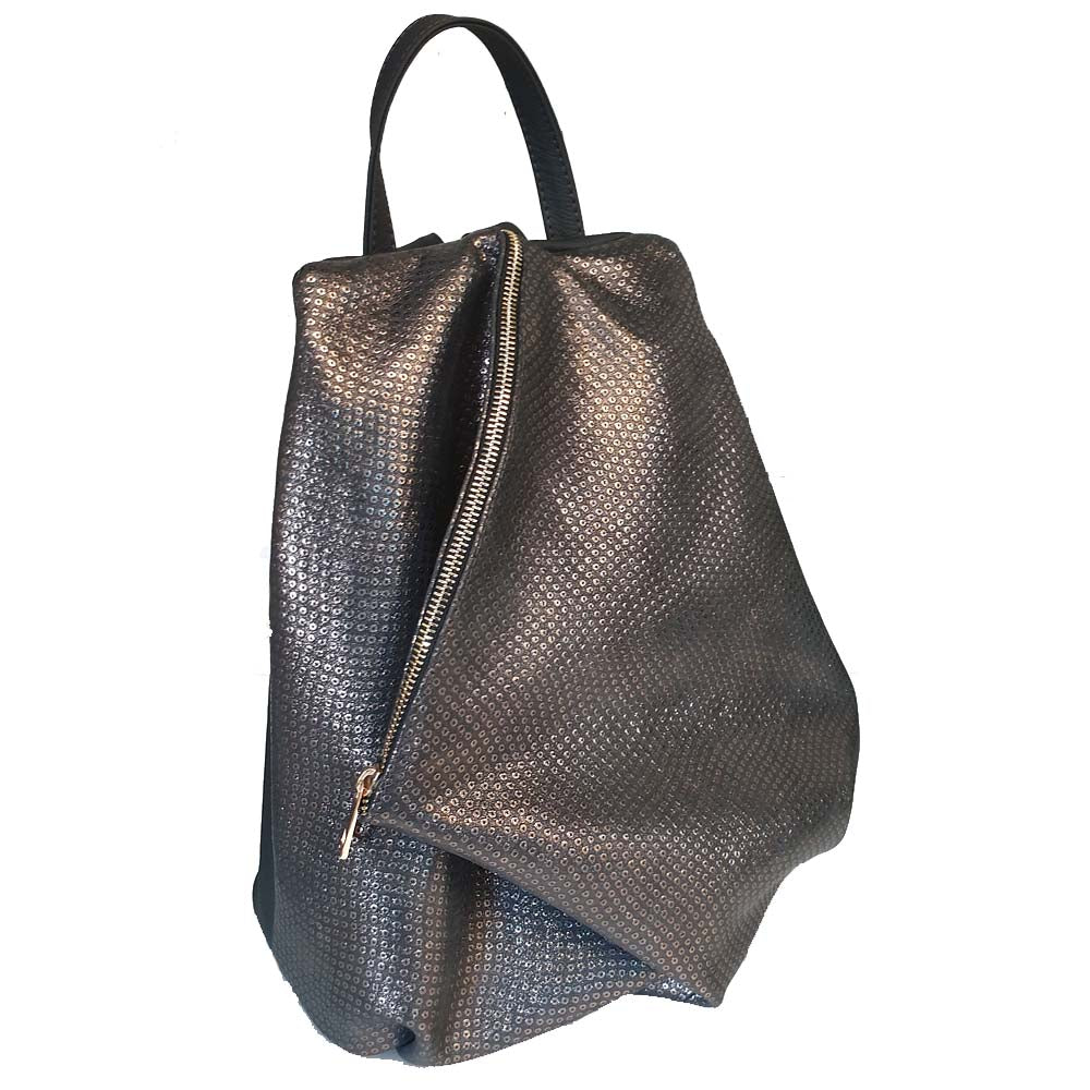 Women's genuine leather backpack in grey silver colour
