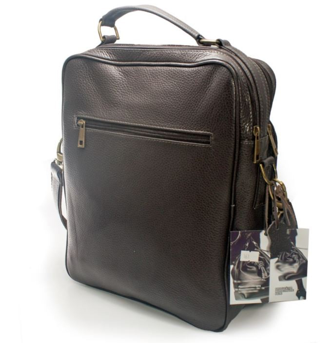 Men's genuine leather bag in brown colour