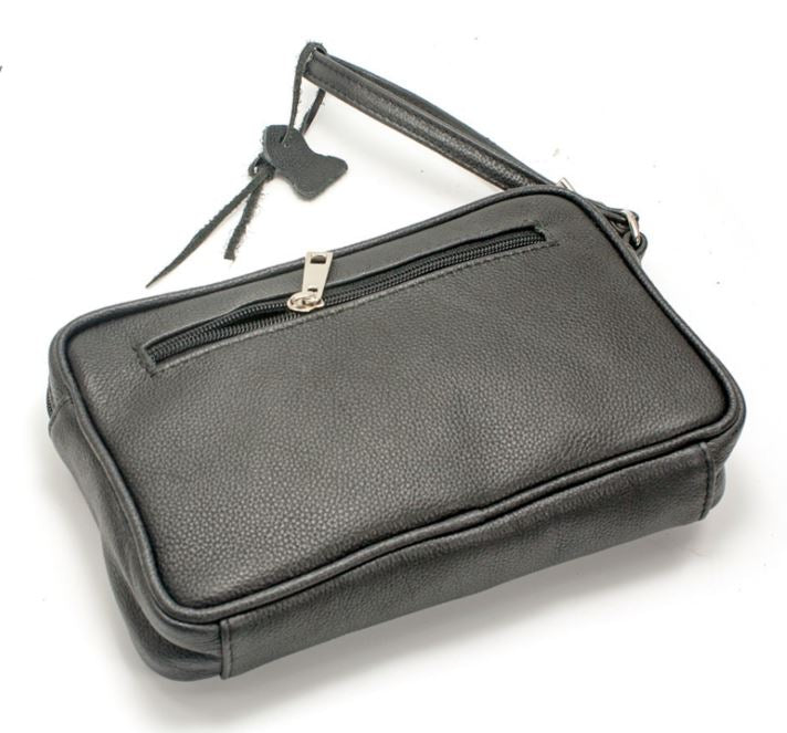 Men's genuine leather small hand bag in black colour