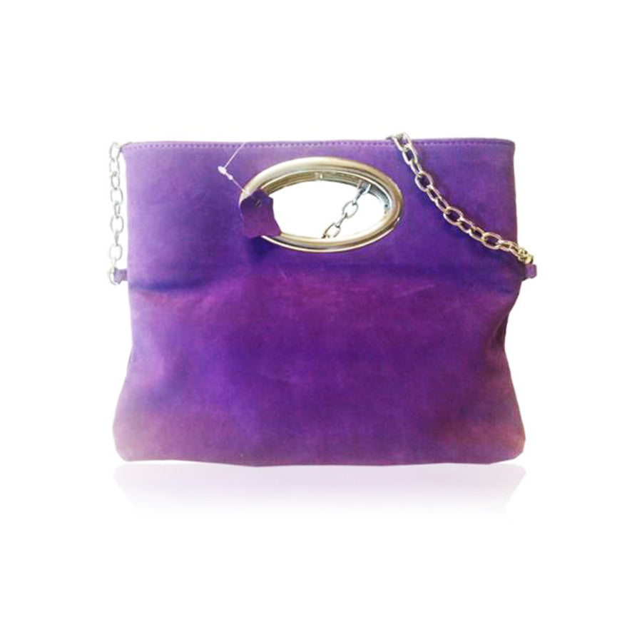 Women's genuine leather bag in purple colour