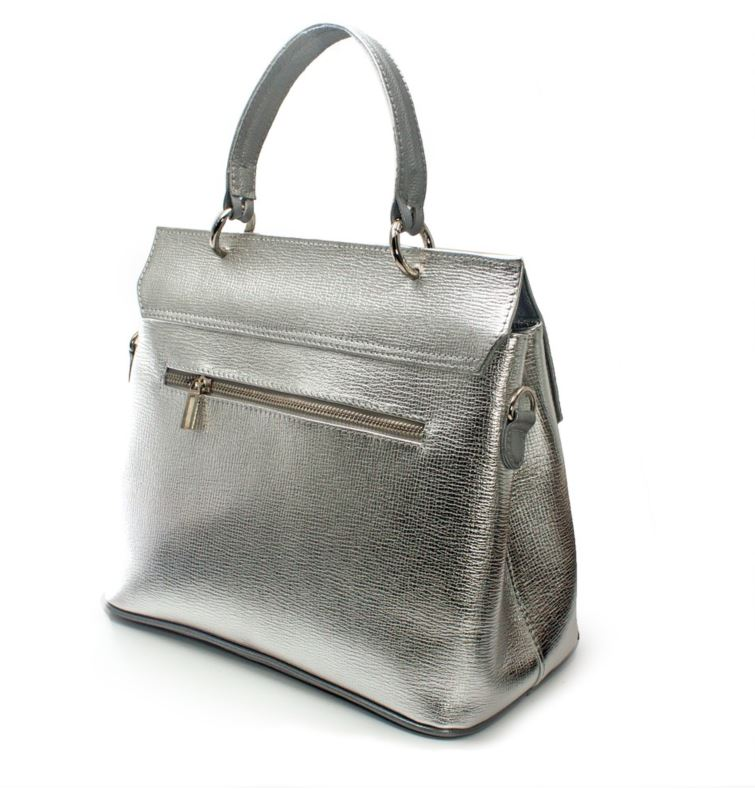 Women's genuine leather bag  in silver colour