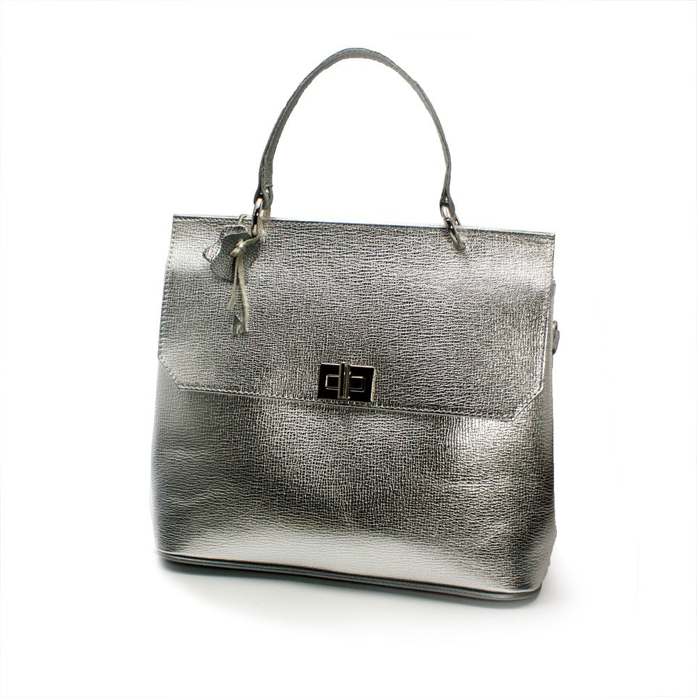 Women s genuine leather bag in silver colour - NOVALUXSTYLE 5aa627311b