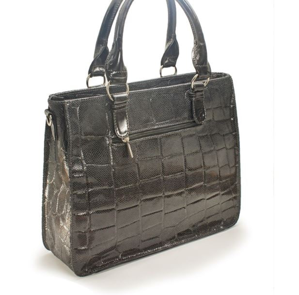 Women's genuine leather bag in grey colour