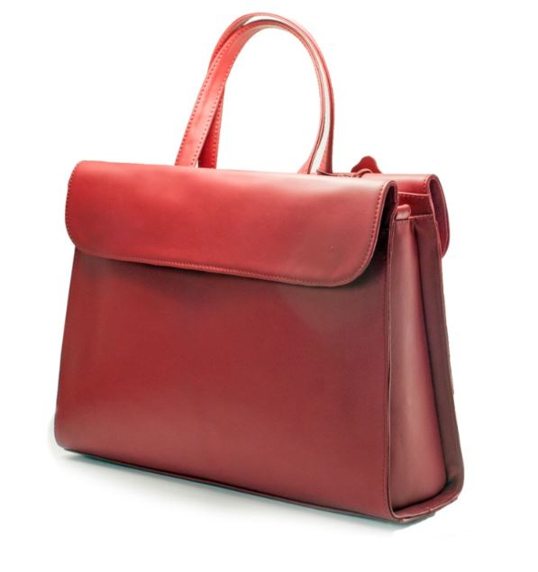 Women's genuine leather bag in red colour
