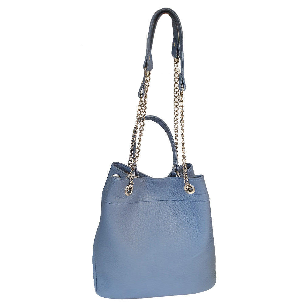 Women's genuine leather bag in blue colour