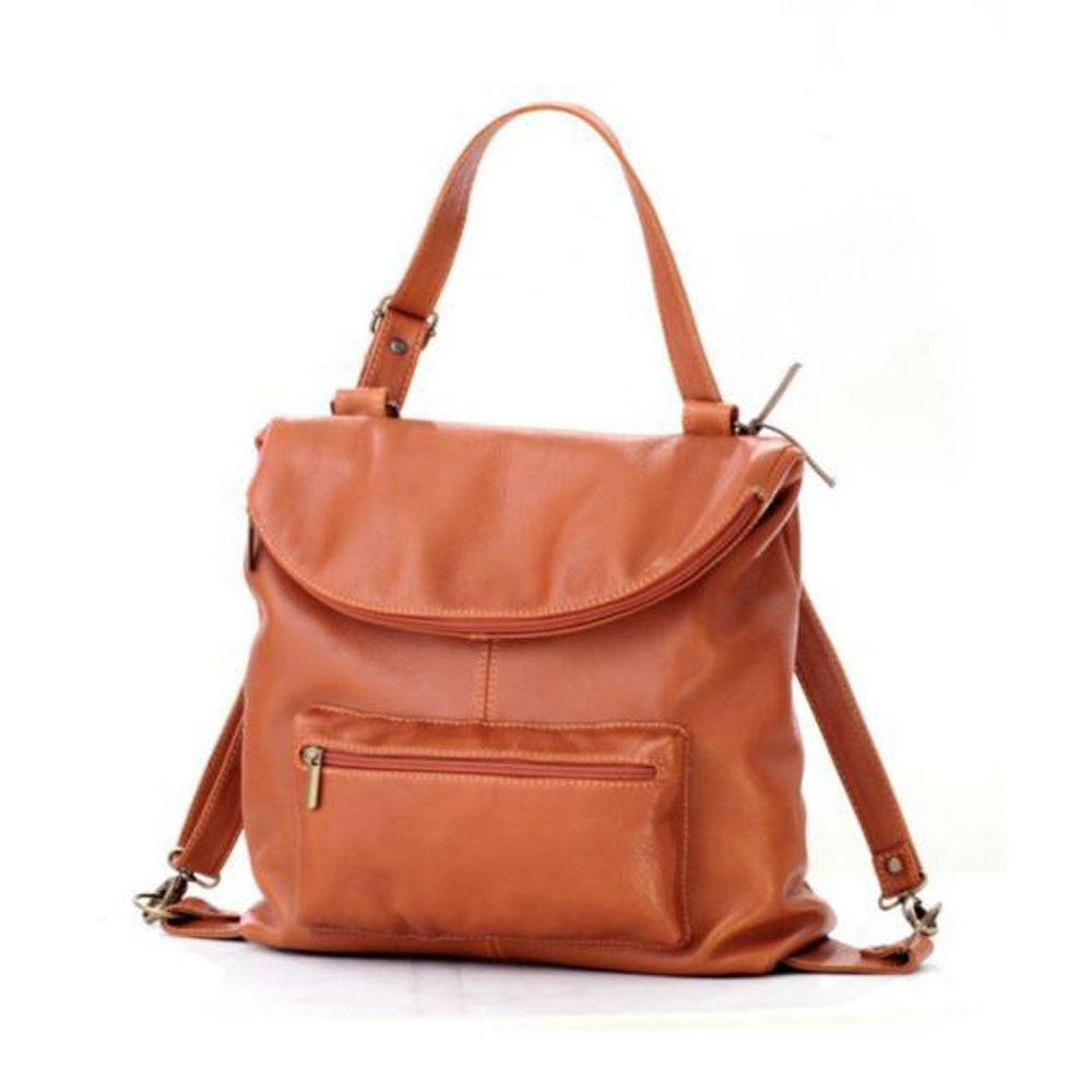 Women's genuine leather backpack in brick colour