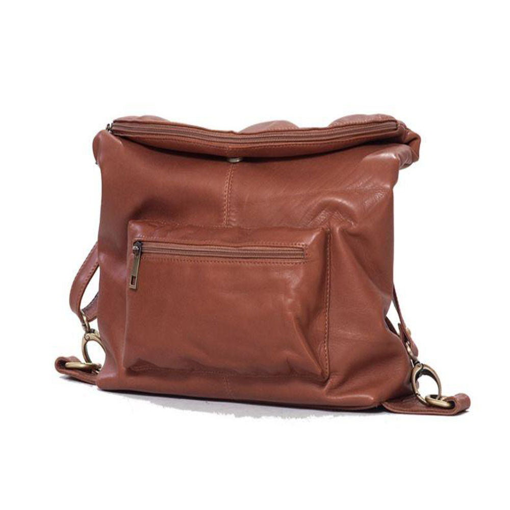 Women's genuine leather backpack in brown colour