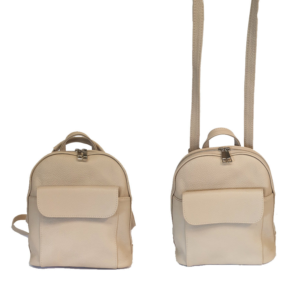 Women's genuine leather backpack in beige colour