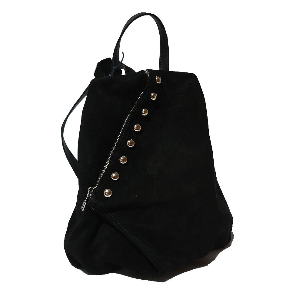 Women's genuine leather backpack black colour suede