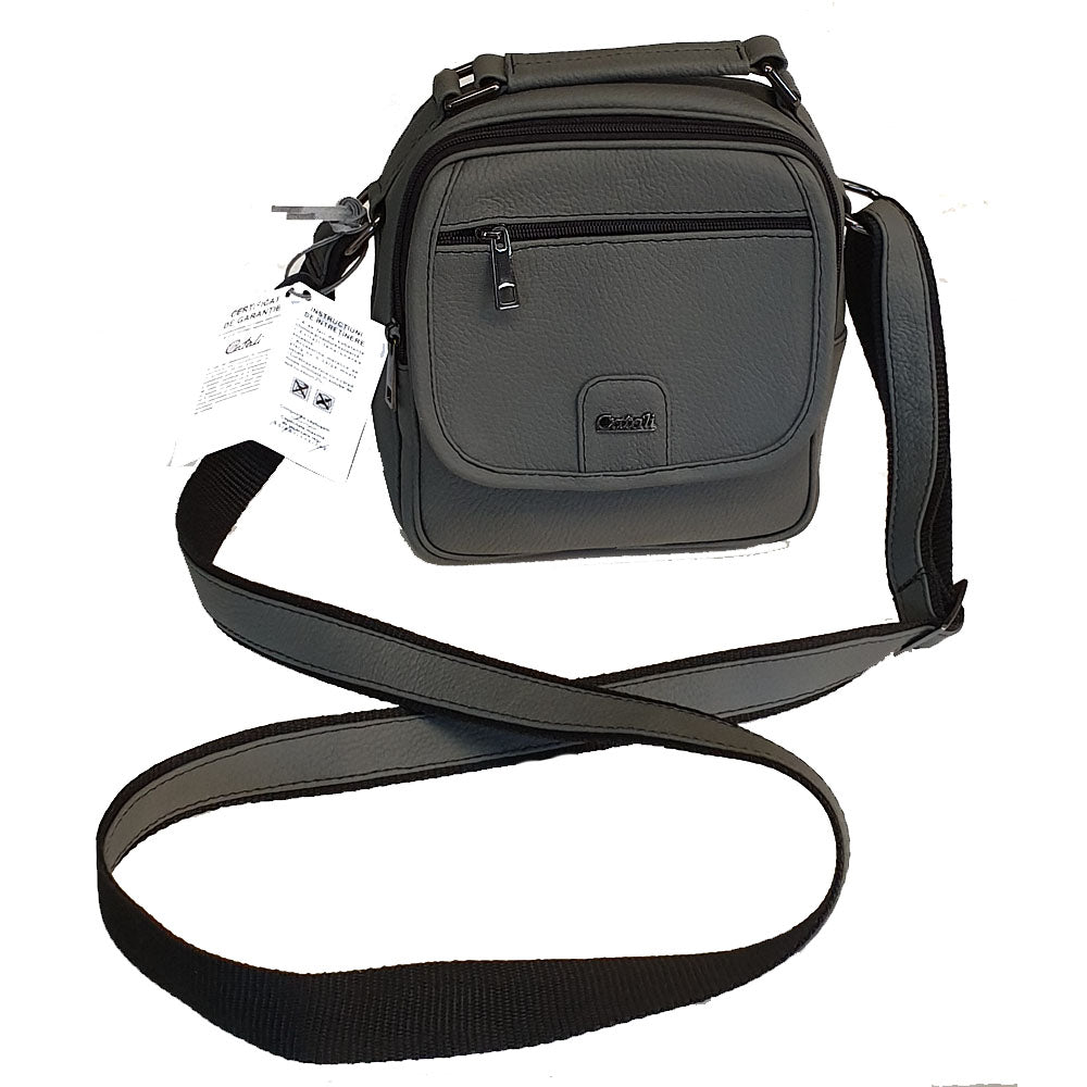 Men's genuine leather bag in grey colour