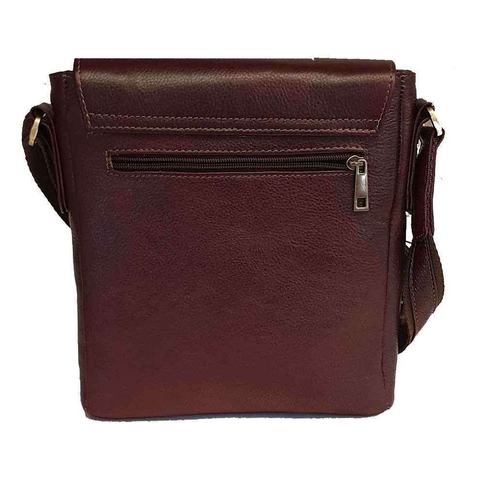 Men's genuine leather bag in cherry colour