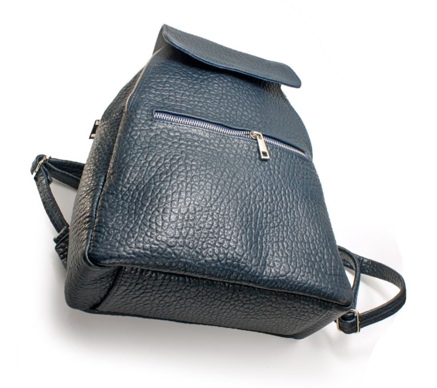 Women's genuine leather backpack in blue colour