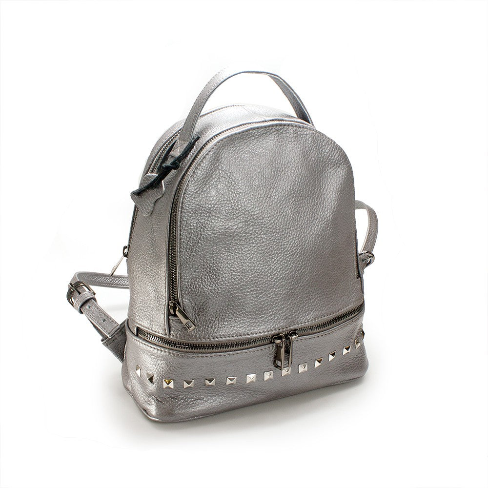 Women's genuine leather backpack in silver grey colour