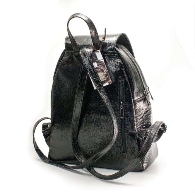 Women's genuine leather backpack in black colour, shiny
