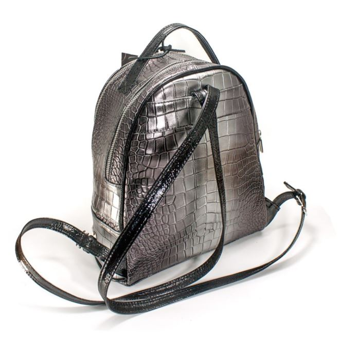 Women's genuine leather backpack in grey colour
