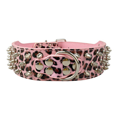 Pink Leopard Studded Collar