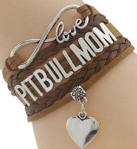 """Infinity Love"" Pitbull Mom Chain Bracelet (Brown)"