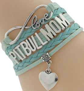 """Infinity Love"" Pitbull Mom Chain Bracelet (Blue)"
