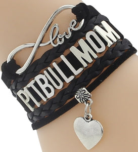 """Infinity Love"" Pitbull Mom Chain Bracelet (Black)"