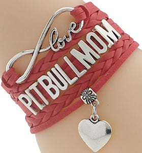 """Infinity Love"" Pitbull Mom Chain Bracelet (Red)"