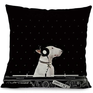 """DJ"" Bull Terrier Decorative Pillow"