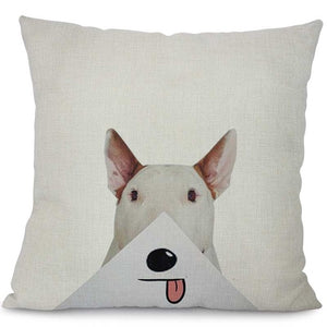 """Envelope Licker"" Bull Terrier Decorative Pillow"
