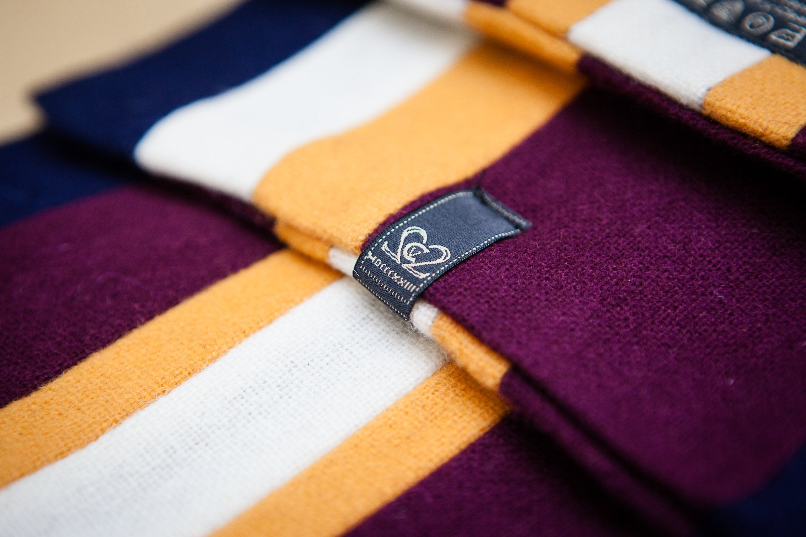 Navy, Burgundy, Orange & White College Scarf