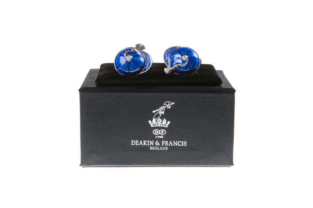 Enamelled Silver Cufflinks Royal Blue