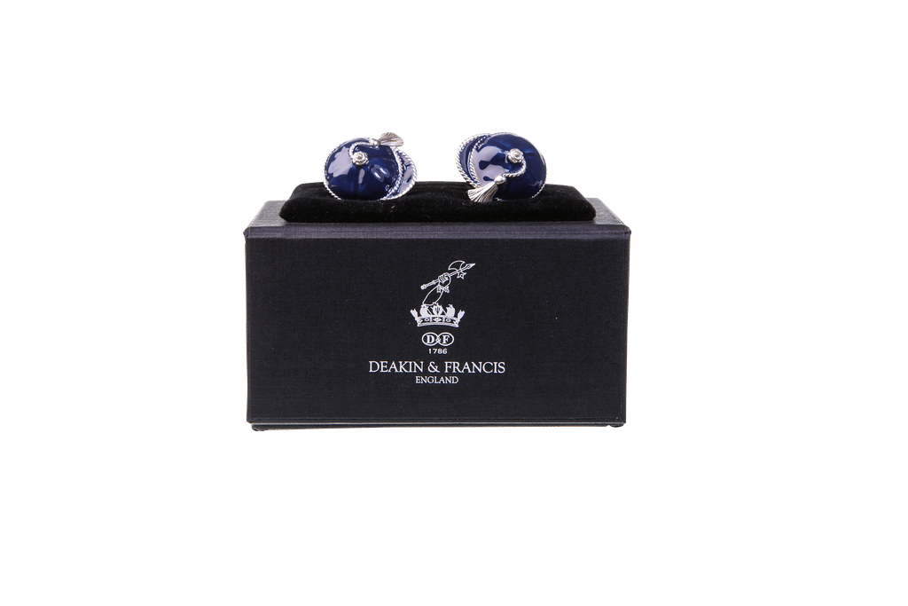 Enamelled Silver Cufflinks Navy