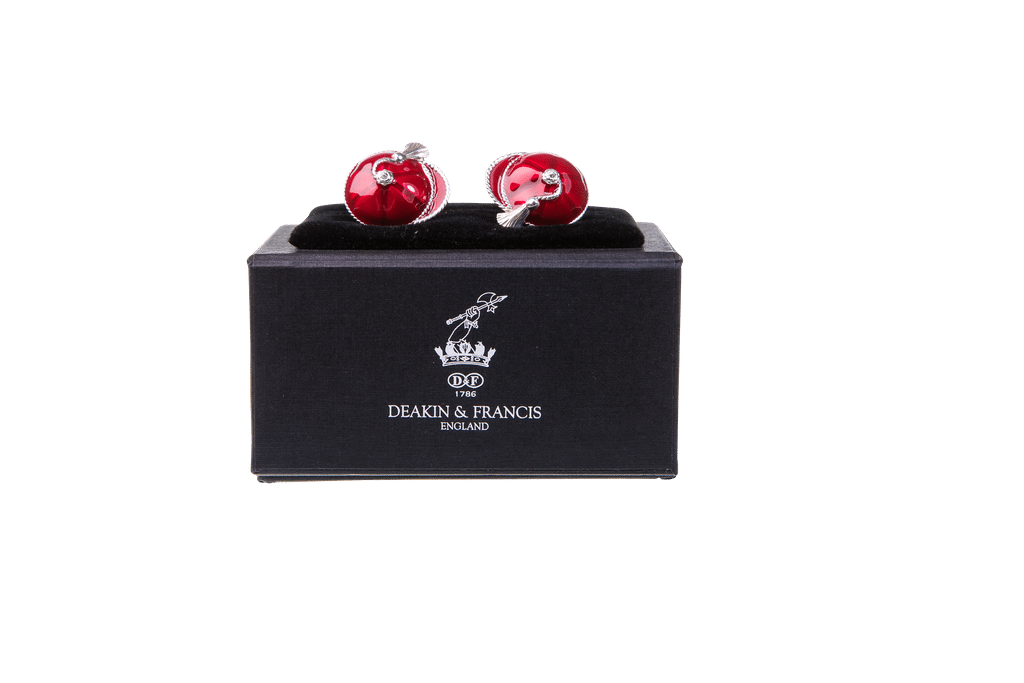 Enamelled Silver Cufflinks Red