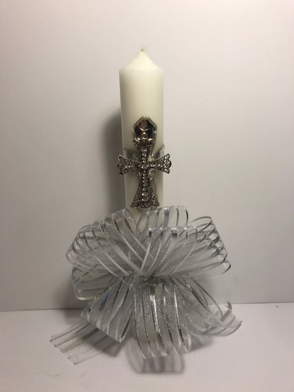Decorated Easter/Palm Sunday Candle - Silver Cross