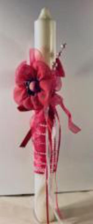 Decorated Easter/Palm Sunday Candle- Pink Burlap Flower