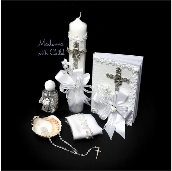 Baptism Gift Set- Madonna with Child - Silver (SPANISH)