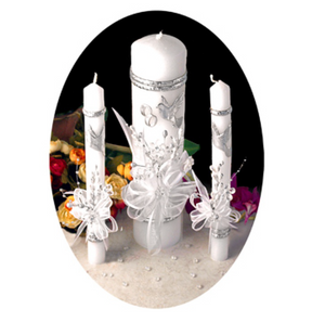 Wedding Candle Set- Silver
