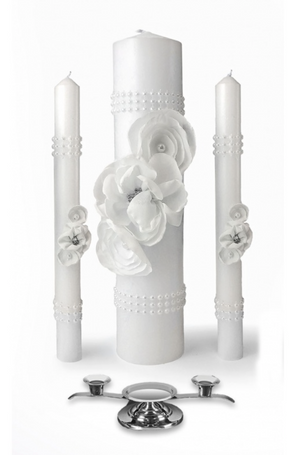 Wedding Candle Set-Silver with Pearl