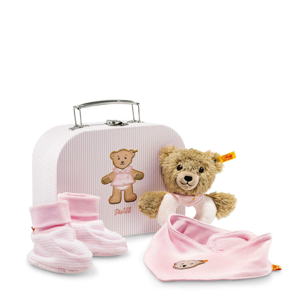Steiff Sleep well bear grip toy with rattle gift set, Pink