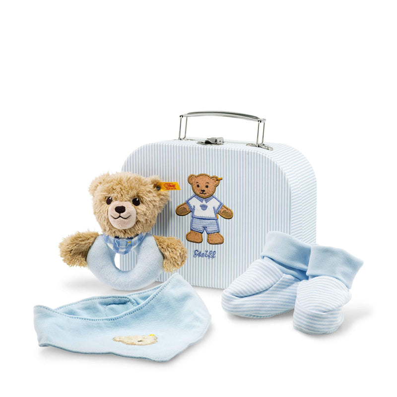 Steiff Sleep well bear grip toy with rattle gift set, Blue