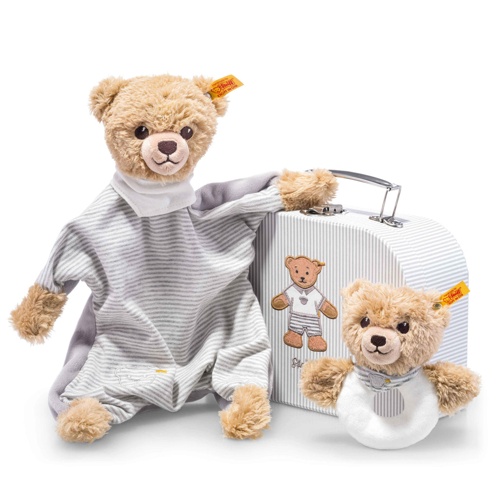 Steiff Sleep well bear comforter and grip toy with rattle gift set, Grey