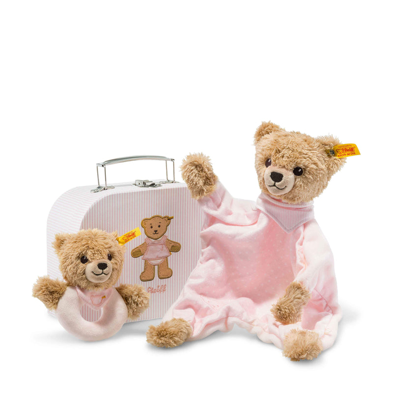 Steiff Sleep well bear comforter and grip toy with rattle gift set, Pink