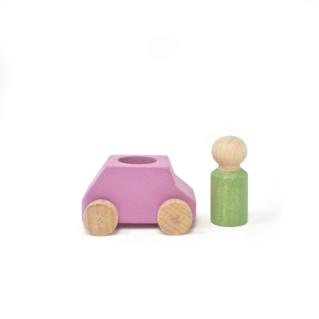 lubu lona Pink Wooden Toy Car