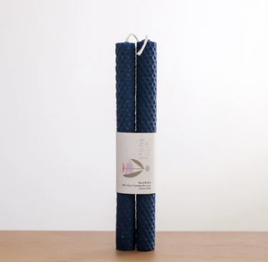 tall hand-rolled beeswax pillar candles - blueberry