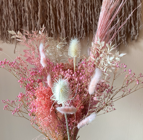 medium dried flower arrangement pink and white