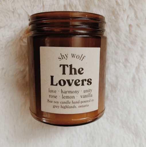 Shy Wolf 'the lovers' candle in an amber glass jar