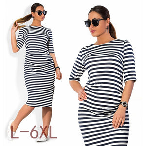 9eaaf771261 5XL 6XL Large Size 2017 Autumn Summer Dress Big Size Black White Striped Dress  Straight Dresses