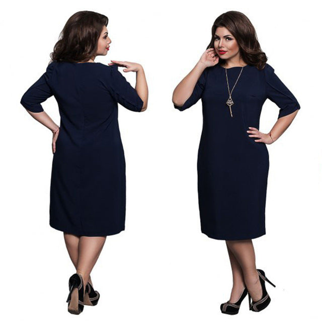 bb13d06d06f 6XL Large Size 2017 Summer Dress Big Size Casual Office Dress Blue Red  Green Straight Dresses ...