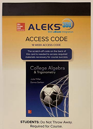 Aleks 360 Access Code (18 weeks) for College Algebra & Trigonometry